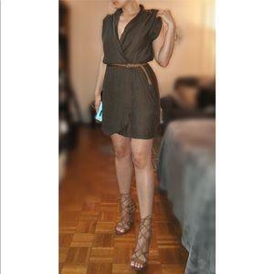 Zara Army Faux Wrap Dress w/ Belt